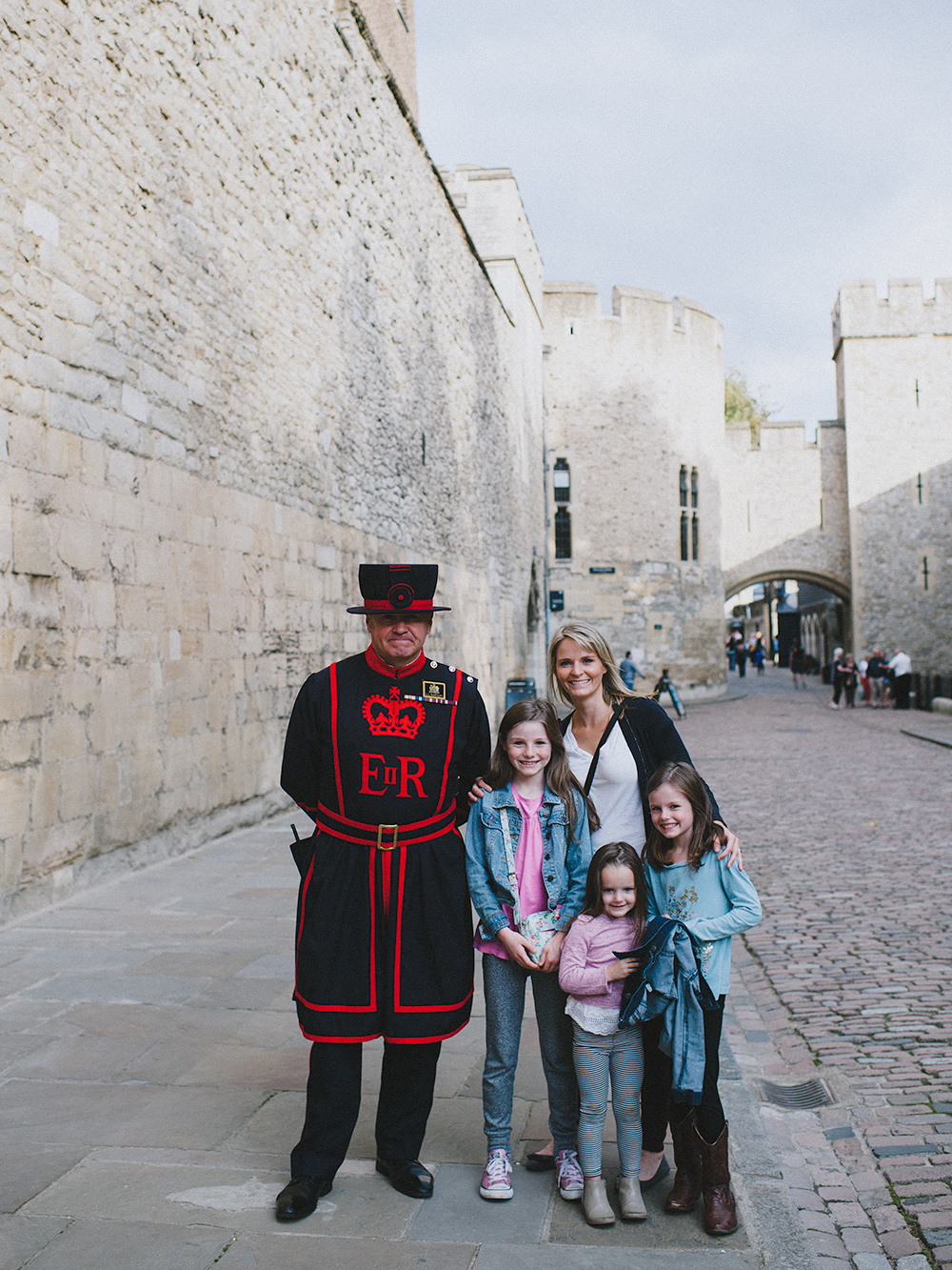 At the Tower of London with a Beefeater