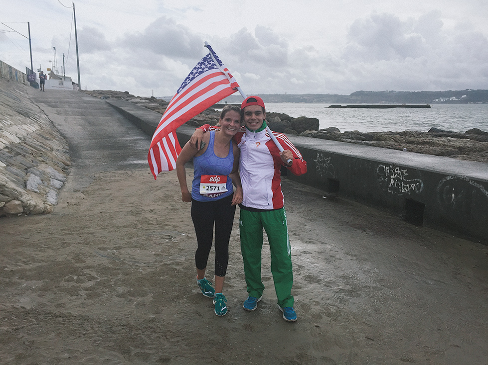 They had flag bearers from all of the countries registered in the race for several miles along the course.  I spotted the Stars and Stripes right at mile 13 and was so excited