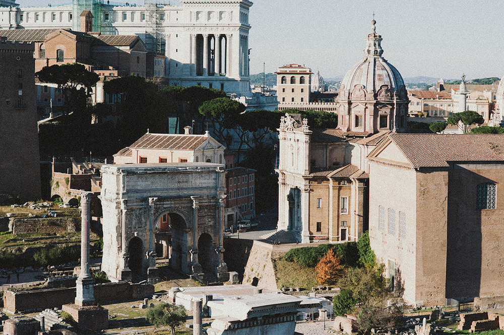 View from inside the Roman Forum looking toward Capitoline Hill