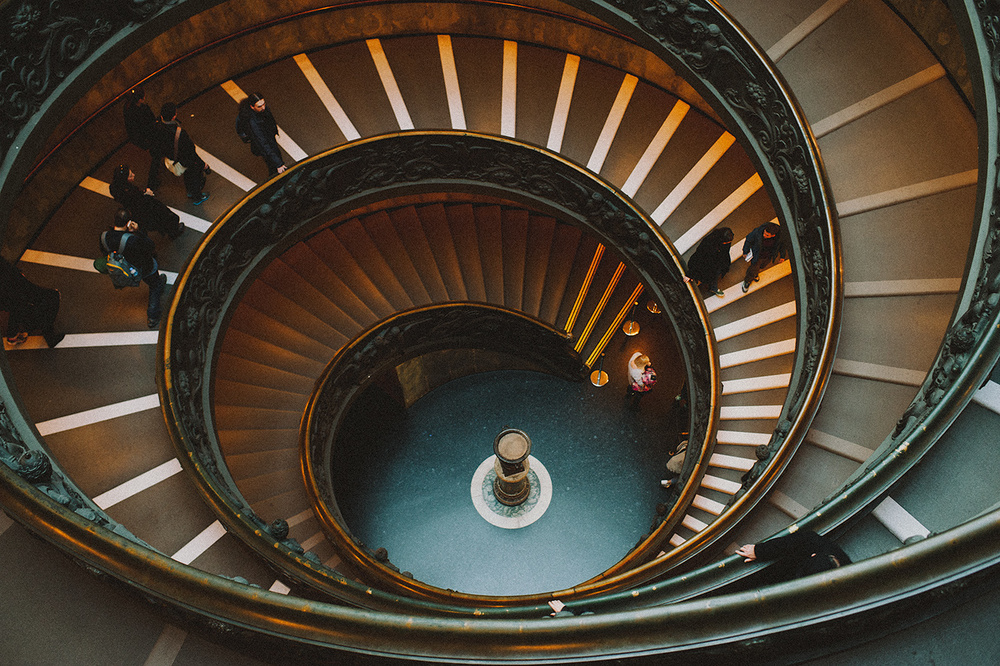 The modern Bramante staircase at the Vatican museum