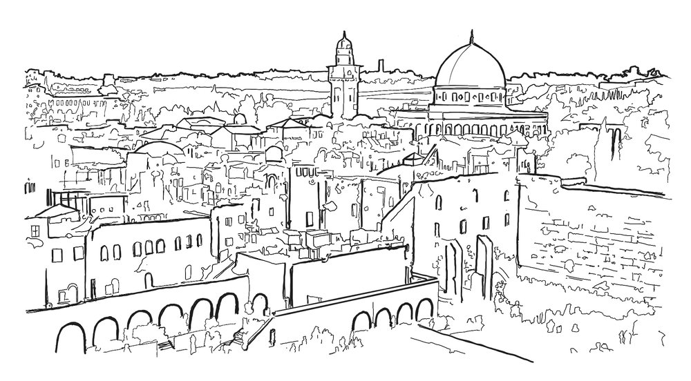 My ink sketch while waiting for shabbat to begin. One of my favorite views in the Old City.