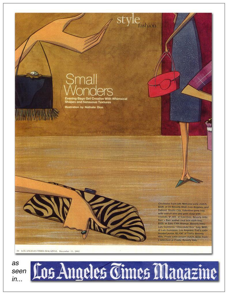 barr + barr luxury handbags and footwear designed by Helen Barr, as seen in the Los Angeles Times Magazine