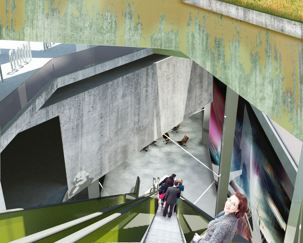 rendering depicting the experience of descending down into the station's platforms