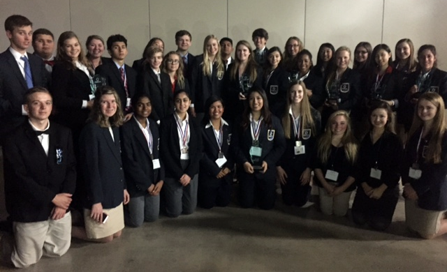 Lake Travis High School will send 18 student-leaders to participate in DECA's International Career Development Conference April 23-26 in Nashville, TN. The students pictured here earned top honors at the 2016 DECA State Career Development Conference in San Antonio in February.