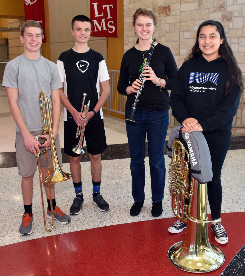 Lake Travis Middle School  TMEA All-Region 32 band members:  Carter Rochford  , Brennan Chlebos ,  Tavia Waldo , and  Jaszmine DeFranco