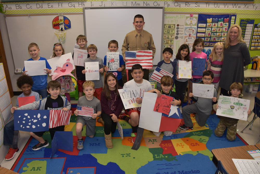 PFC Joel Zapalac  visits  Elizabeth Anstey' s 2nd grade class at Lakeway Elementary School