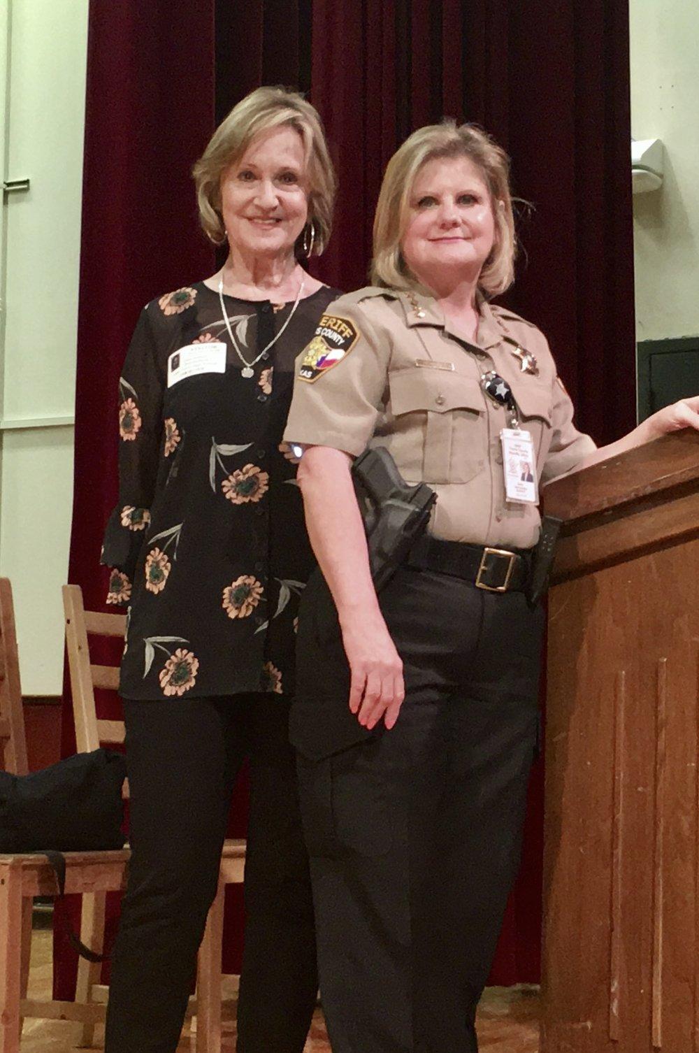 Ellen Halbert (left), former Director of Victim Services, and Sally Hernandez (right) TravisCounty Sheriff