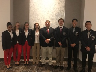 Lake Travis High School Finalist in Anaheim L to R:   Samantha Butler, Faith Putman, Nikita Tiffany, Lisa Stapleton, Cody Harris, Campbell Ingraham, Jerzy Ramos Chen & Jason Liu