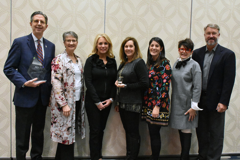 Pictured (left to right):  Dr. Brad Lancaster  (Citizen of the Year) , Cathy Hill, Clarissa Cullison, Kathy Austrian  (Golden Apple Award) , Laara Nava, Patsy Mendel  and  Lamar Schrader