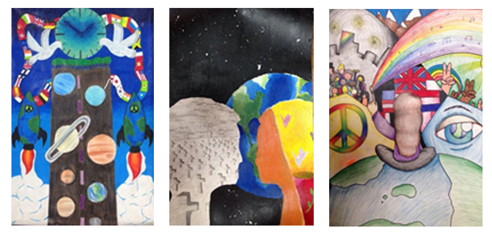 Selected student artwork (left to right):  Bella Hatch ,  Vivian Heitkoetter  and  Victoria Rebber