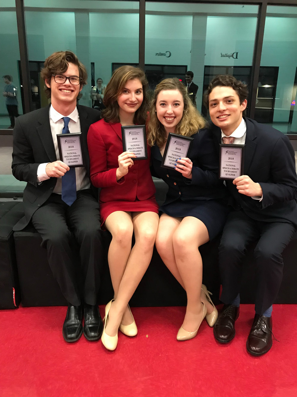 LTHS Speech and Debate students who qualified for National Speech & Debate Tournament: (left to right)  Evan Margiotta -senior,  Julia Belov -junior,  Christy Caudle -senior,  Nicholas Martinez -junior