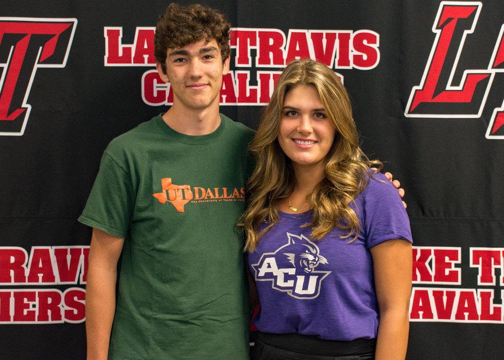 LTHS tennis student-athletes (left to right):  Haydn Steffes  - UT Dallas  Steffi PItts  - Abilene Christian University