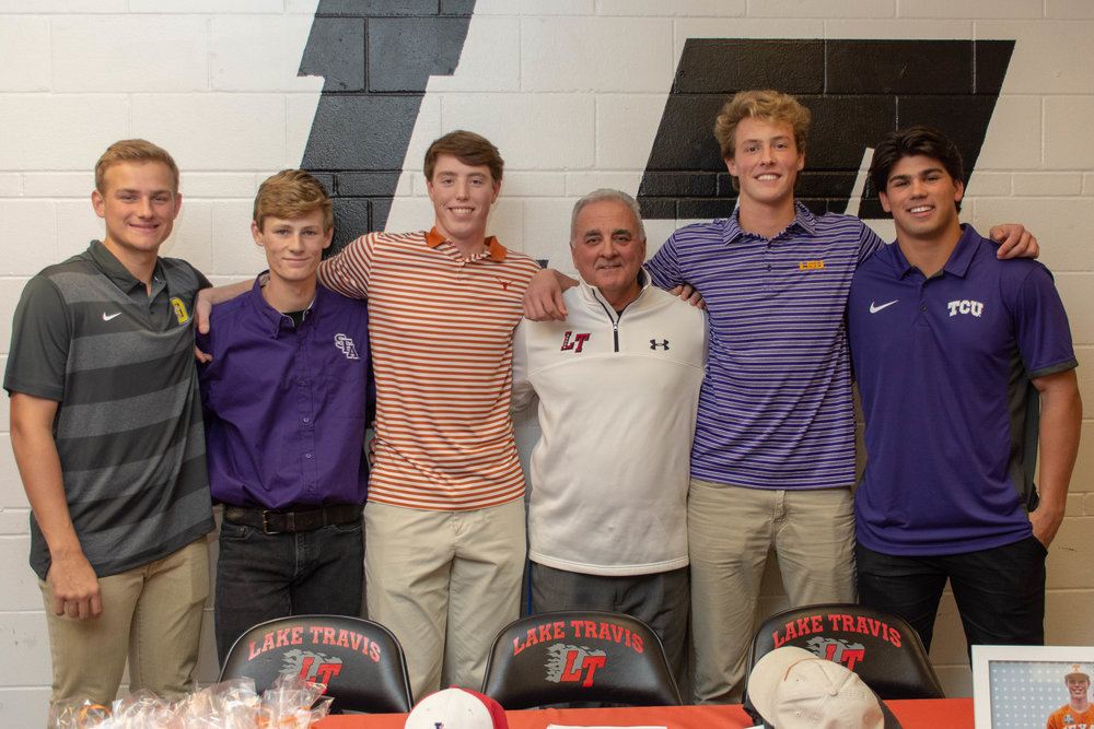 LTHS baseball student-athletes (L to R):  Kyle Boyer  - DePauw University  Aiden Babinski  - Stephen F Austin University   Brett Baty  - University of Texas   Jimmy Lewis  - Louisiana State University   Austin Plante  - Texas Christian University
