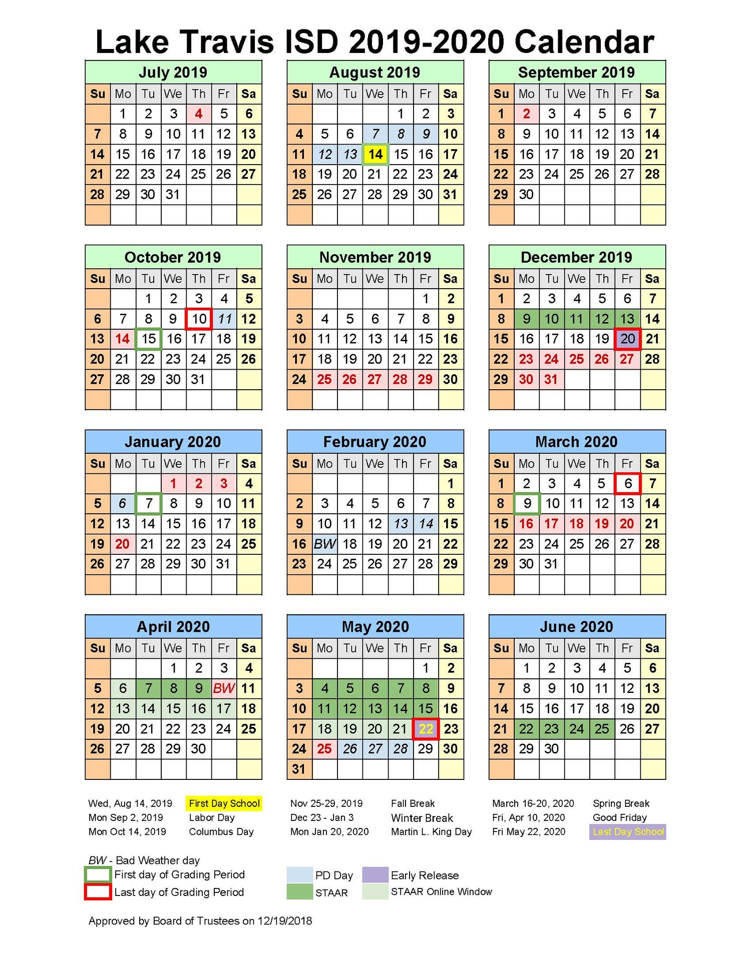 13 Period Calendar 2020 SCHOOL BOARD APPROVES 2019 2020 INSTRUCTIONAL CALENDAR — School
