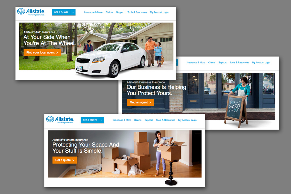 Screen grabs from new Allstate site.  (Click to enlarge.)