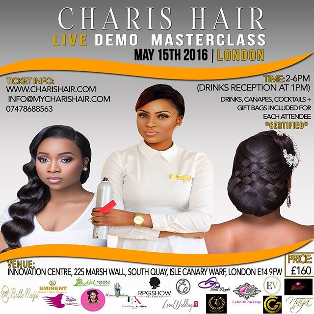 We are very pleased to be official sponsors of @charishair live demo masterclass in London on the 15th of May. We absoluetly love her work and will be providing our planning and coordination service. If you are interested from learning from one of the best hair styling guru make sure you get involved. See @charishair for more info ❤