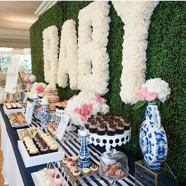 Dreamy baby shower dessert table for @drayamichele love the textures and that flower wall 😍😍💙