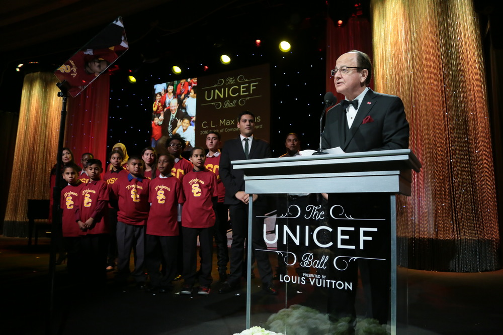 University of Southern California President, C. L. Max Nikias, accept the Spirit of Compassion Award at the 2016 UNICEF Ball