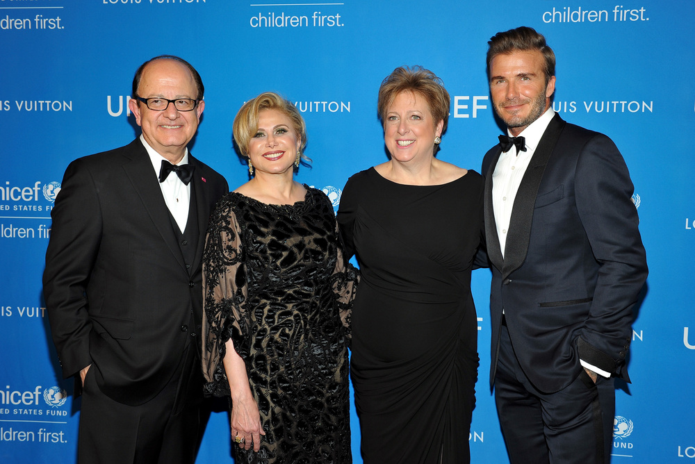 C. L. Max Nikias, Ghada Irani, Caryl M. Stern, and David Beckham at the 2016 UNICEF Ball