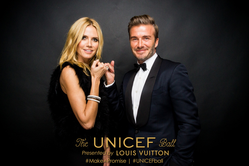UNICEF Ambassador Heidi Klum and UNICEF Goodwill Ambassador David Beckham at the 2016 UNICEF Ball presented by Louis Vuitton