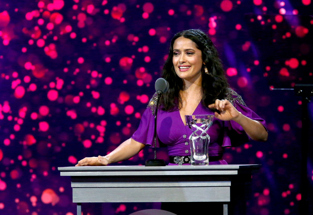 Danny Kaye Humanitarian Award Recipient Salma Hayek Pinault speaks onstage during the 7th Biennial UNICEF Ball on April 14, 2018. (Photo by Tommaso Boddi/Getty Images for UNICEF USA)