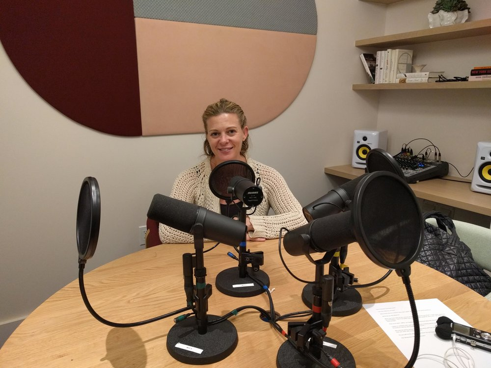 Mallory Kasdan in the podcast studio at The Wing in Dumbo, Brooklyn