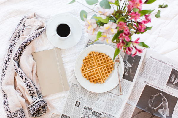 Love this shot! Everything we adore! Waffles, coffee, and cozy corners! <3 |Getting Social with @sarahsweeneyco via @social_studio
