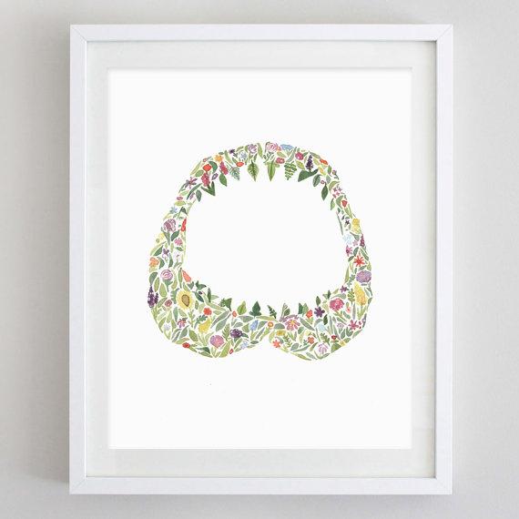 Floral Shark Jaw Watercolor Print | Getting Social with Carly Rae Studio via @social_studio