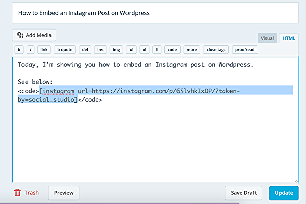 How To Embed Instagram Posts To Your Blog with Wordpress via @social_studio
