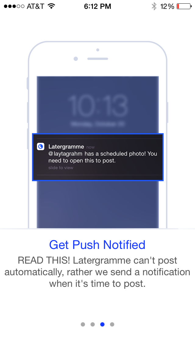 Latergramme alerts you when it's time to post. Make sure you don't miss that push notification! | Instagram Tool That Has Us Saying 'YAY!' - Latergramme Review via @social_studio