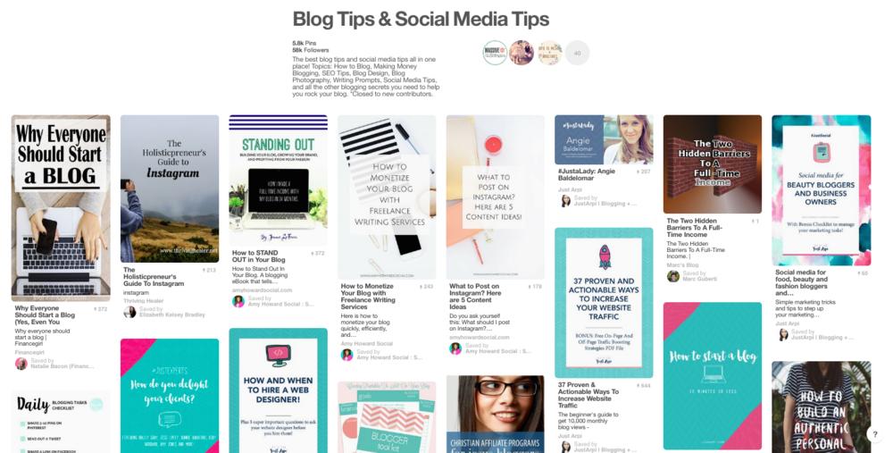 blog tips and social media tips board