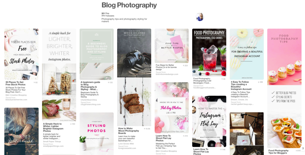 blog photography pinterest board
