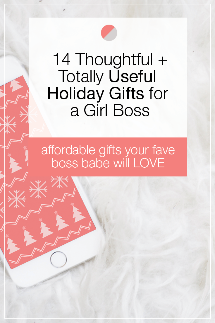 We've rounded up some of our favorite holiday gifts for the ultimate girl boss. Not only are all of these gift ideas useful + thoughtful, but they're all made by small businesses run by girl bosses just like you! Happy shopping!