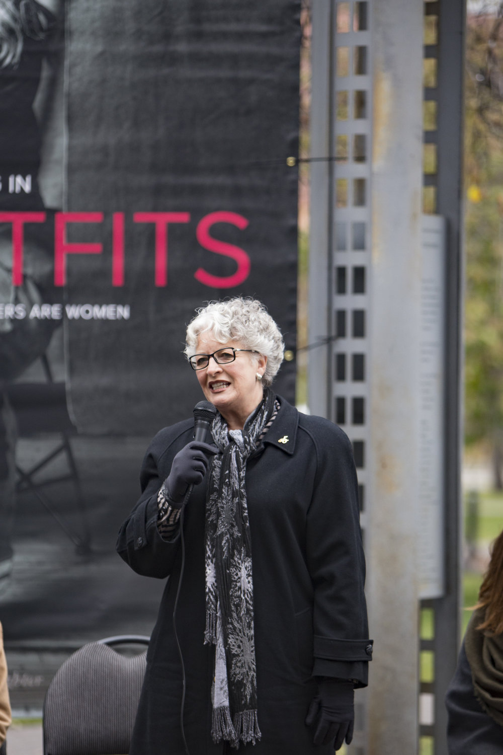 Frances Wright, founder of the Famous 5 Foundation addresses the group at the Persons Day event at Olympic Plaza in Calgary on Oct 18, 2016