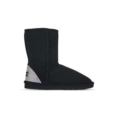 3d775939b4c4 Burlee Australia Classic Mid Black Sheepskin Ugg Boots Sale with Swarovski  Crystal New York Silver heel