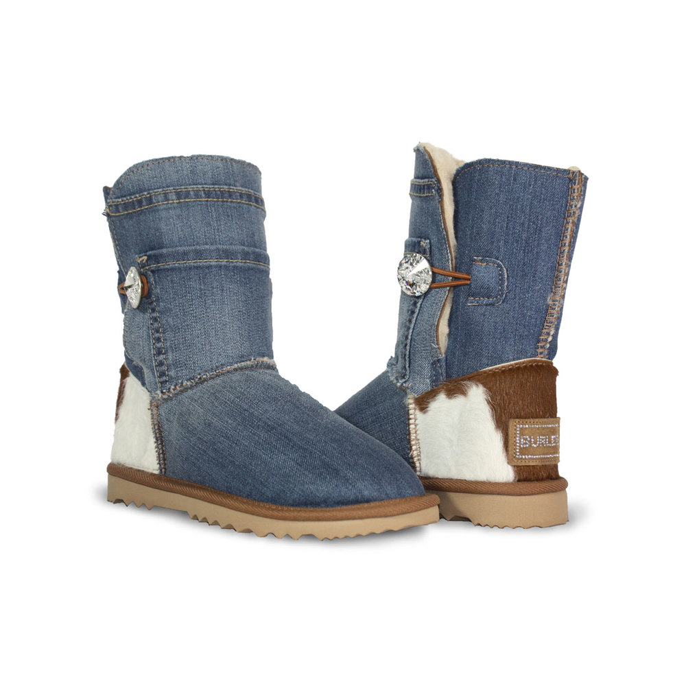 Burlee Australia Classic Mid Blue Denim Luxe Mid Sheepskin Ugg Boots Sale with Calfskin heel and
