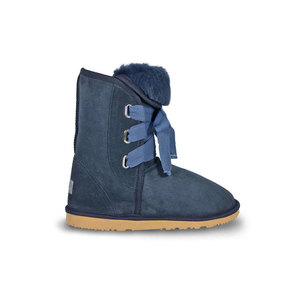 Burlee Australia Roxy Lace Up Mid Navy Sheepskin Ugg Boot Sale Side View bc68cae56