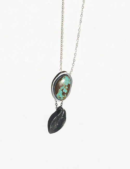 Turquoise pendant with silver clay leaf fine arzt turquoise pendant with silver clay leaf aloadofball Image collections