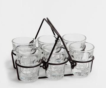 Set of Shot Glasses with Metal Base