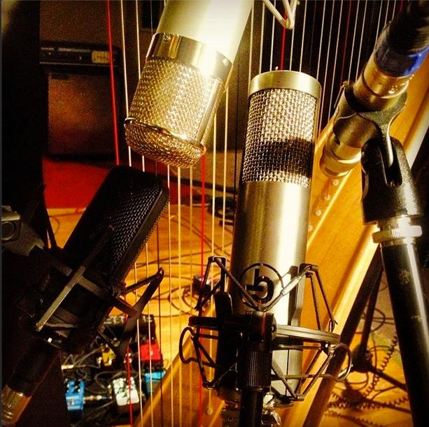 Testing mics on harp