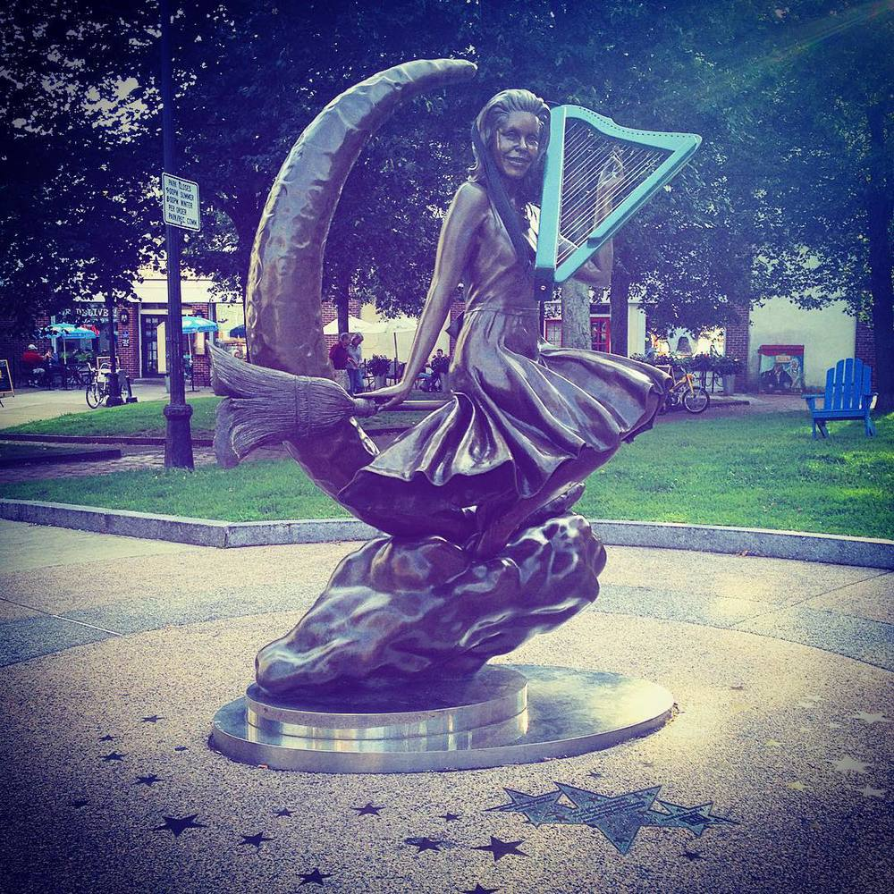 Gig tonight in Salem with the little harp. Bewitched statue… Couldn't help it.