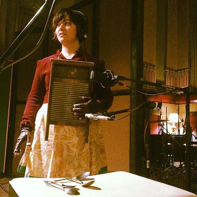 Jessica Dasilva Garrett recording washboard and spoons. She makes jewelry and boot tambourines.http://dasilvastudios.com/home.html