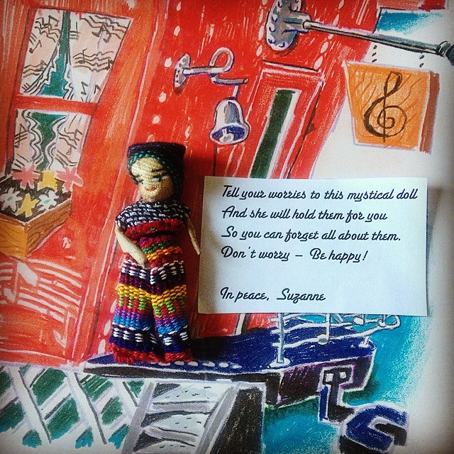 Worry Doll gifts from music therapist Suzanne Hanser, to get us all through the final two weeks of our four month project together:)