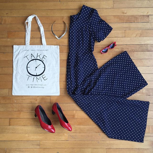 🍒Nothing like a one garment outfit 🍒 . . Polka dot jumpsuit size S/M Red vintage kitten heels size 5 TT tote $10 Metal choker $16 Shades $18