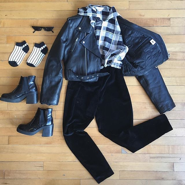 "🖤Feeling jazzed it's Friday.🖤 We are open regular hours this weekend despite the road closures for Jazz Fest〰️ Come say hi! . . Leather jacket size M Velvet cigarette pants W25"" Plaid hoodie top size S Chunky Chelsea boots size 7.5  Socks 7$ Shades $18"