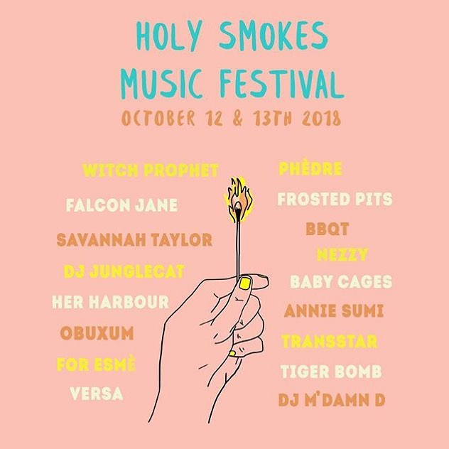 Holy smokes! We're excited for this weekend. You can catch @witchprophet @_transstar_ and @tigerbombmusic play in the shop 12-3 Saturday afternoon.  This is the last show Take Time will be hosting ever and what a special one it will be. Honoured to be involved in the inaugural @holysmokesmusicfest 💞