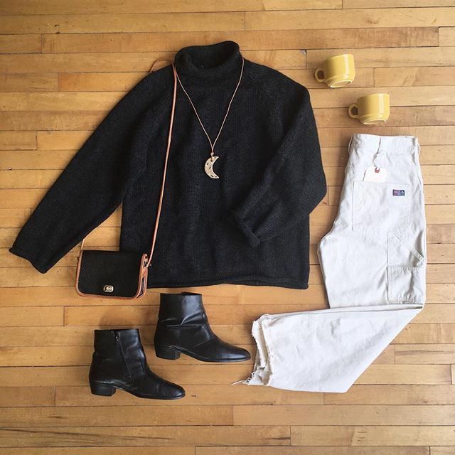 "🌜Still putting out new items. All vintage 20% off!🌛 . . Charcoal wool mock neck sweater size M/L Work wear cut-offs W30"" Insulated leather boots size 9 Leather purse $19 Moon pendant by @nightshiftceramics now $16 (last one!) Yellow mugs 2 for $12"