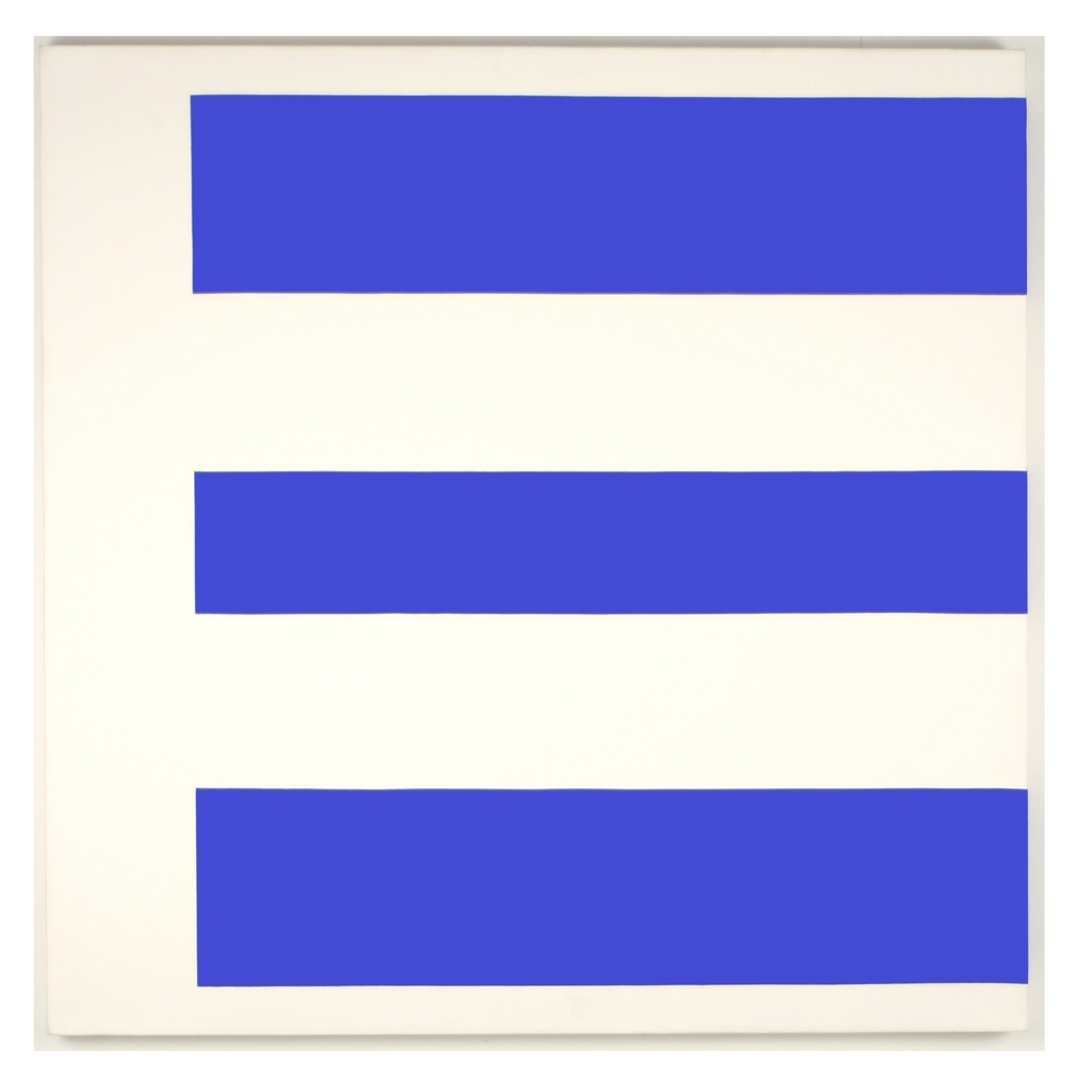 Composition • Blue and White Acrylic on canvas •   42 x 42 IN / 106.6 x 106.6 CM • 1989