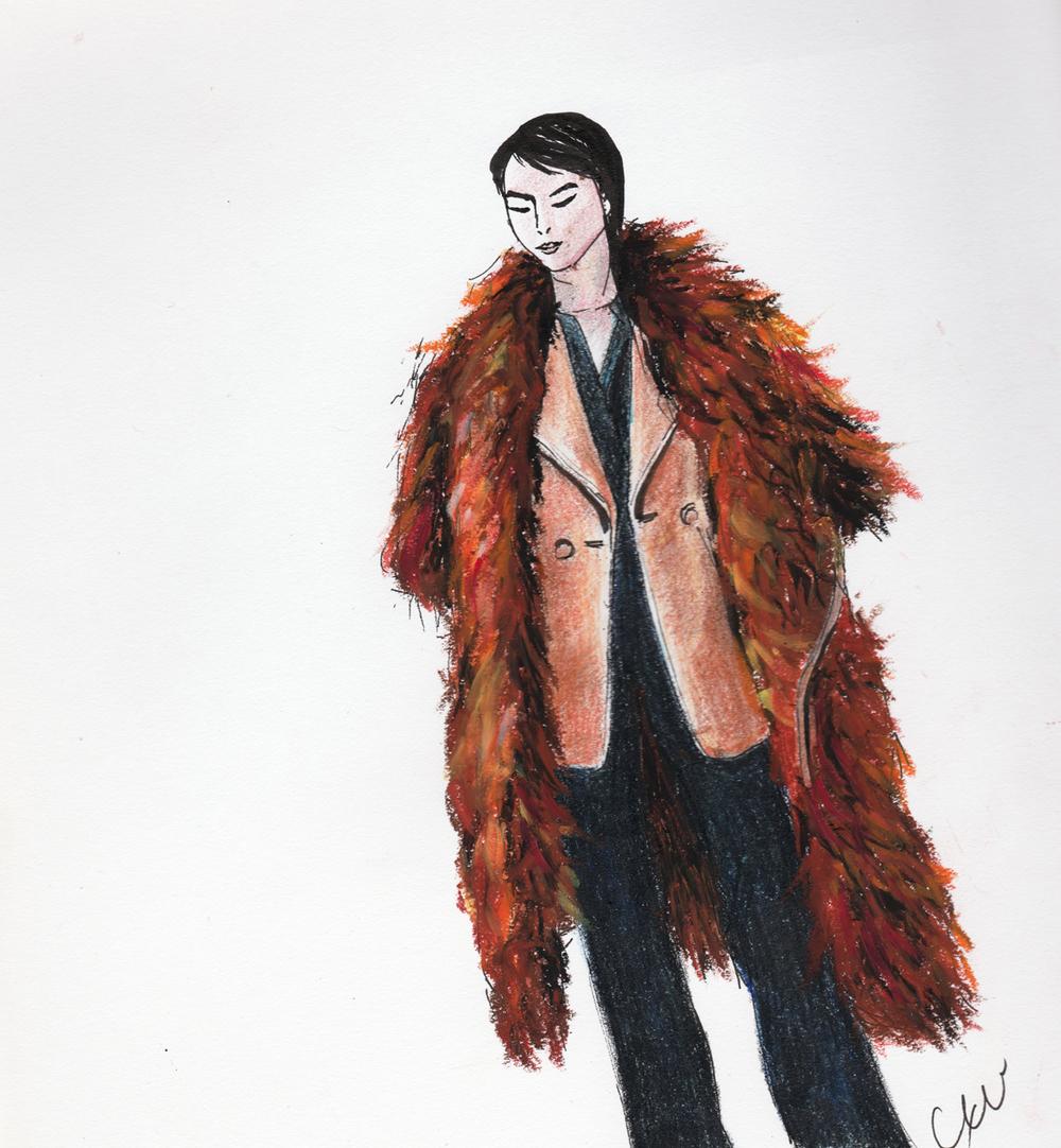 margaret + fluffy coat