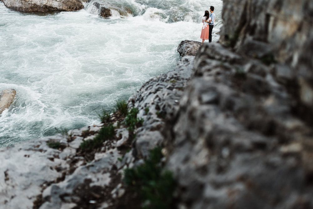 Elbow Falls  Kananaskis Engagement Photographers  Emma & Daniel